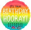 "17"" Birthday Hooray Gradient Foil Balloon"