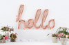 """Hello"" Script Balloon Banner-Rose Gold"