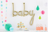 baby Script Balloon - white gold