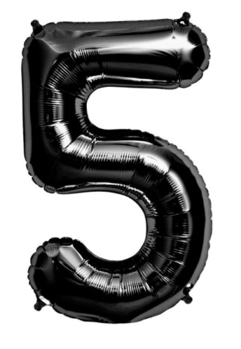 34 inch Black Number Balloon