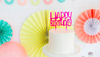 "Neon Pink Acrylic ""Happy Birthday"" Cake topper"