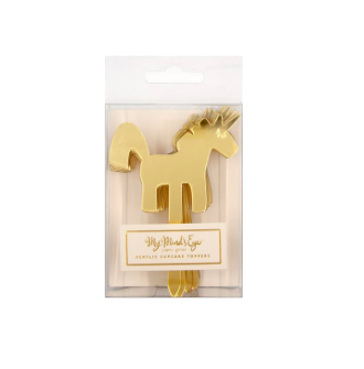 Gold Unicorn Cupcake Toppers