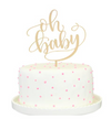 """Oh Baby"" Gold Mirror Cake Topper"