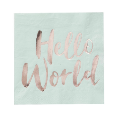 "Mint & Rose Gold - ""Hello World"" Napkins"