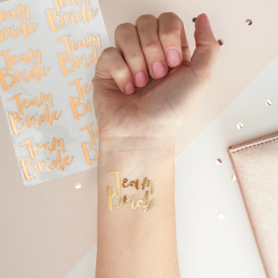 "Team Bride"" Rose Gold Foil Tattoos"