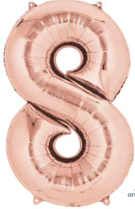 34 inch Rose Gold Number Balloon