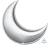 Silver Crescent Moon Balloon