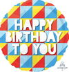 "Happy Birthday Geometric Colors 17"" Foil Balloon"