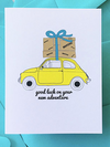Moving one- Moving Car Letterpress Card