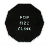 "Small Black ""Pop Fizz Clink"" Plates"