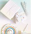 Double Sided Gift Wrap (Rainbow Chip + Pastel Stripe) Sheet