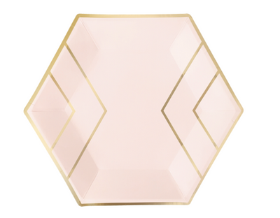 Large Pink & Gold Geo Plates