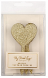 Gold Glittered Heart Cupcake Toppers