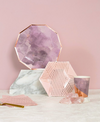 Amethyst Pale Pink Striped Small Paper Plates
