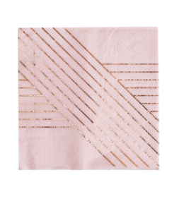 Amethyst Pale Pink Striped Cocktail Paper Napkins