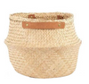 Leather Handle Natural Belly Basket- Large