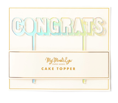 Congrats Holographic Cake Topper