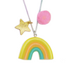 Sunshine Rainbow Necklace-Pink Pom