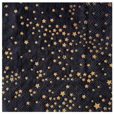 Zodiac Black Little Stars Cocktail Napkins