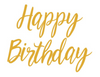 Happy Birthday Banner Modern Script - Gold