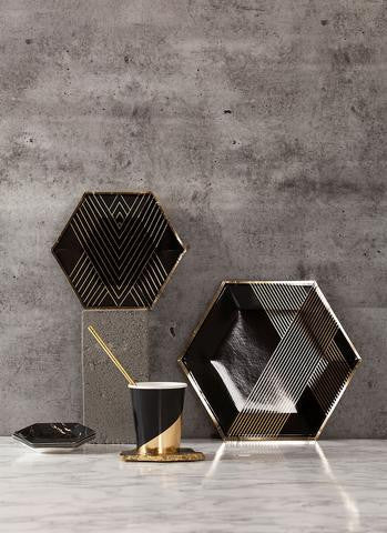 Black Hexagon Small Plates