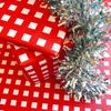 Red Window Pane Wrapping Paper