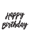 Happy Birthday Banner Modern Script - Black