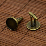 Antique Bronze Brass Cufflinks Tray Settings with Domed Clear Glass Covers Sets for Picture Cuff Button Making