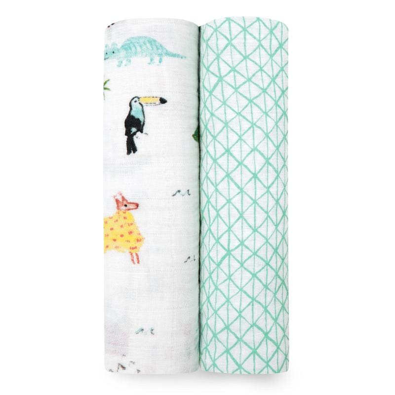 Classic Muslin Swaddles 2pk - Around the World - Muslins Wraps & Swaddles