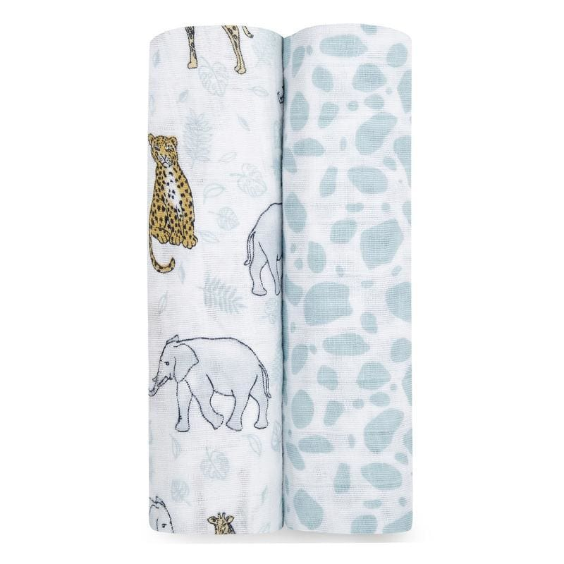 Classic Muslin Swaddles 2pk - Jungle - Muslins Wraps & Swaddles