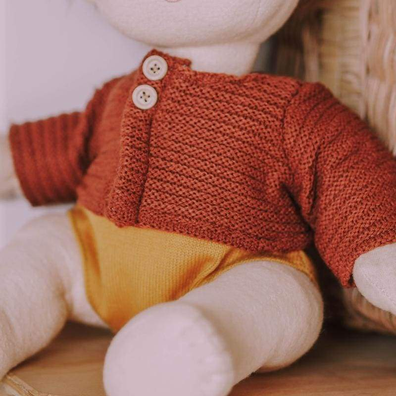 Dinkum Doll - Cardigan - Chestnut - Chestnut - Play>Dolls & Clothing