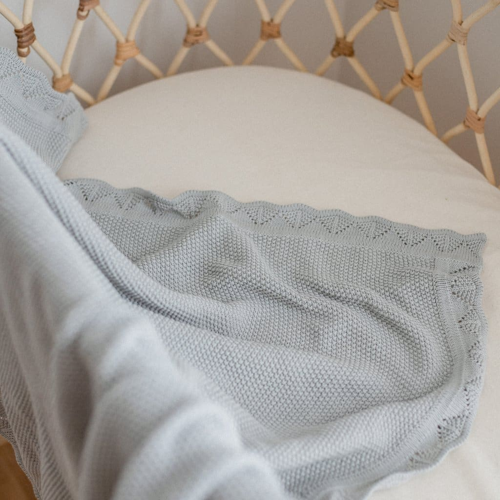 Heirloom Knit Blanket - Sage - Bedding