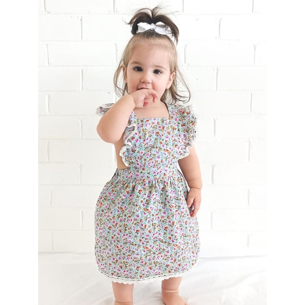 Lace Flutter Sleeve Crossback Dress - Aqua Floral - Wear>Kids>Girls