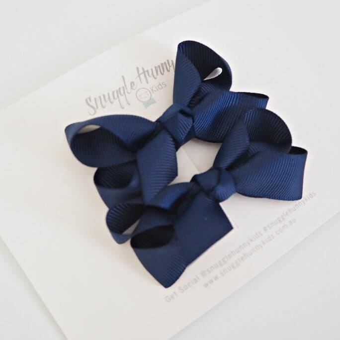 Navy Blue Clip Bow - Small Piggy Tail Pair - accessories