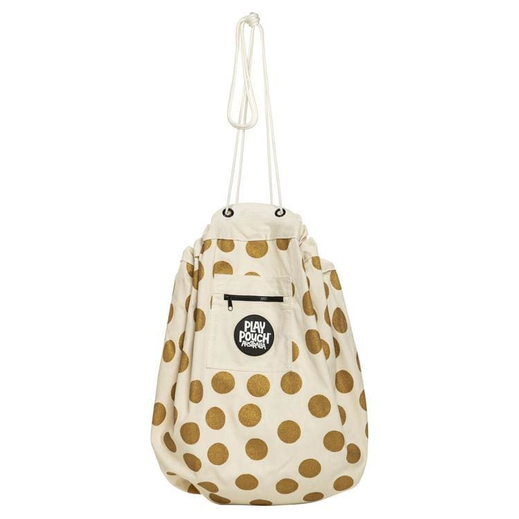 Printed Play Pouch - Glitter Gold Dots - play