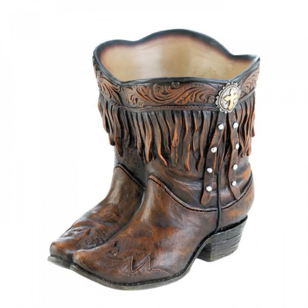 Fringed Cowboy Boot Planter