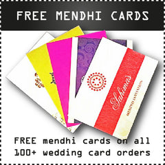 FREE mendhi cards on all 100+ wedding card orders