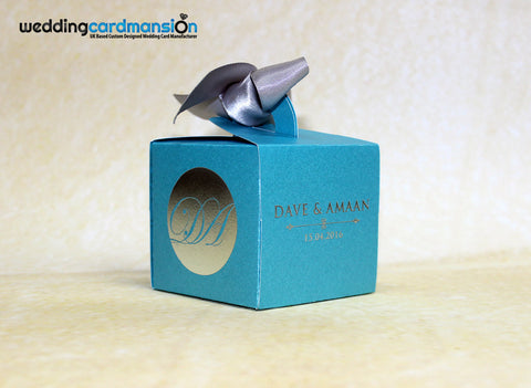 Blue laser cut cupcake box wedding invitation with foiling. WC304 - Wedding Card Mansion