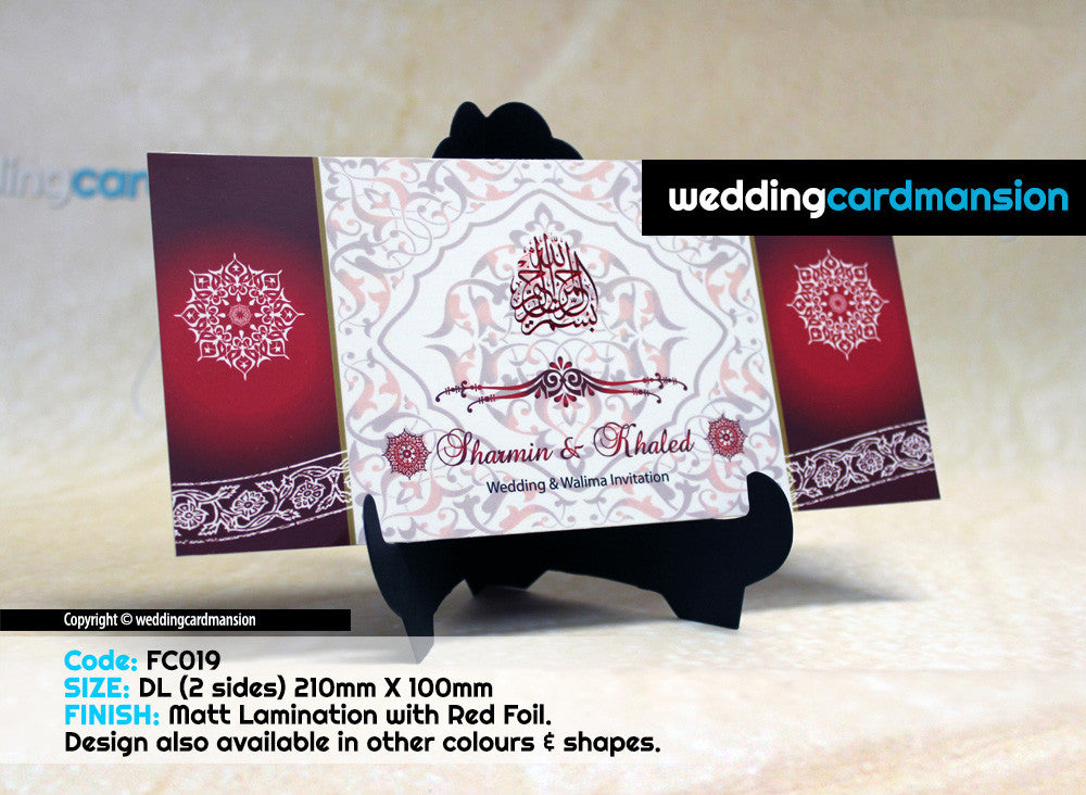 Red & White design single piece wedding invitation FC19