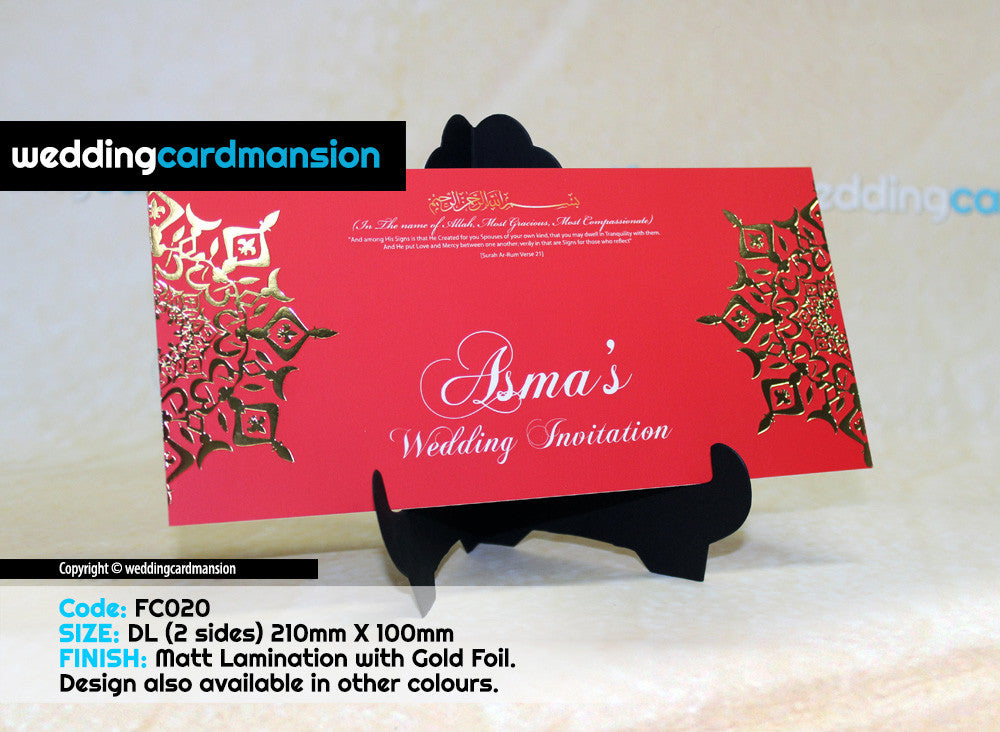Red web foil design wedding invitation. FC20