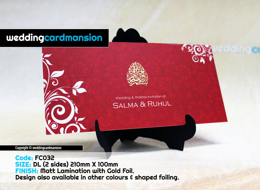 Red & white floral design single piece wedding invitation FC32