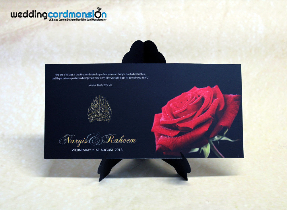 Black & red rose Bismillah wedding invitation. FC37 - Wedding Card Mansion