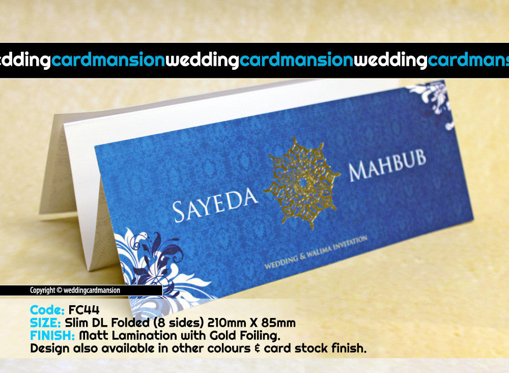 Blue scroll folded wedding invitation. FC44 - Wedding Card Mansion