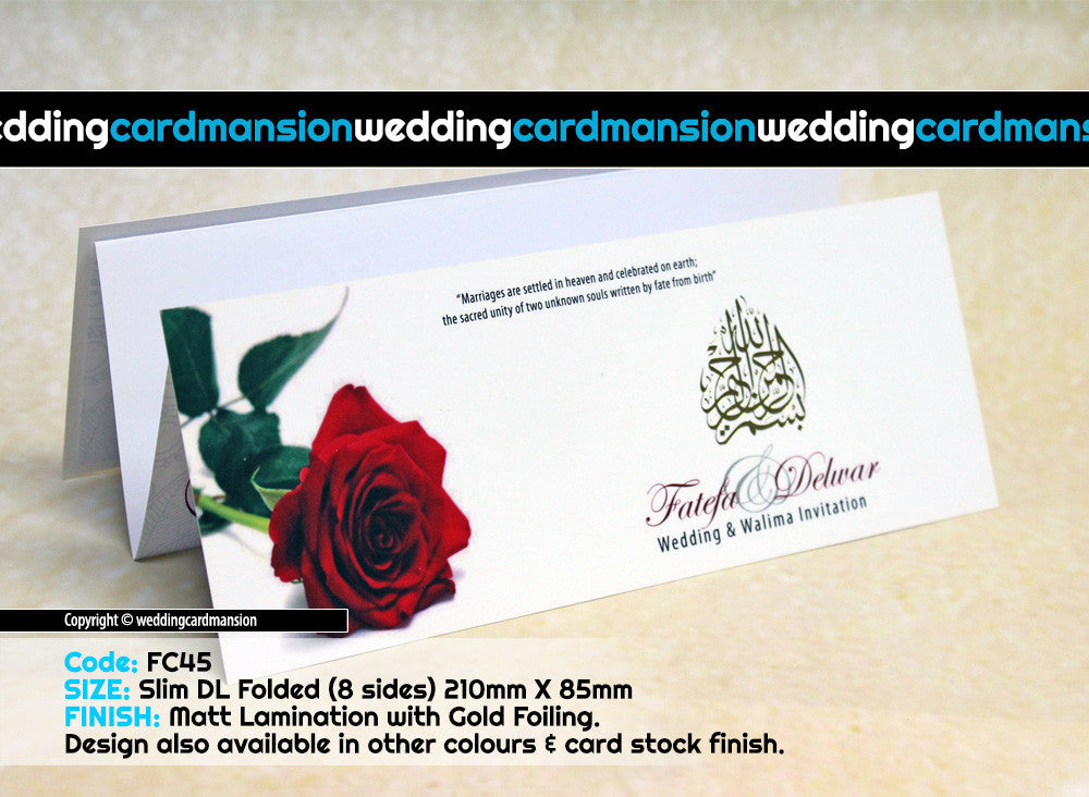 White with red rose scroll folded wedding invitation. FC45