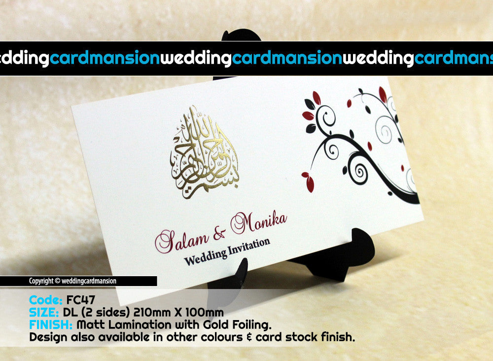 White floral design single piece wedding invitation FC47