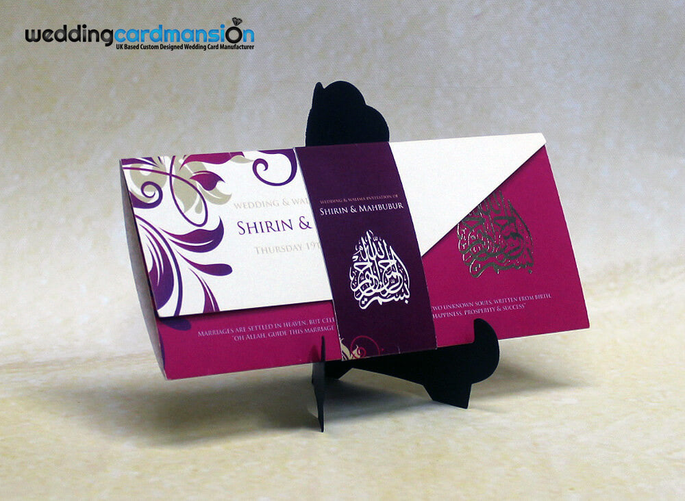 Pink, purple & white floral pattern folded wedding invitation with belly wrap and foil. FC51 - Wedding Card Mansion