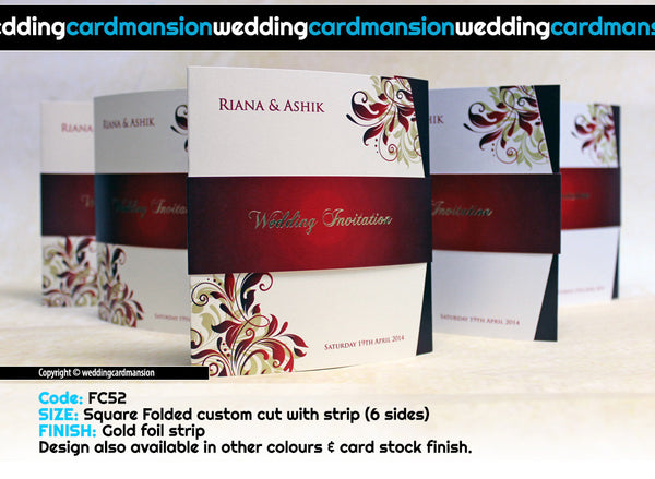 White die cut card with red floral design square wedding invitation with foiled belly wrap