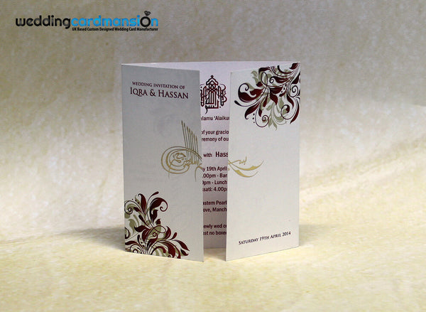 White & red floral design foil square wedding invitation. FC53