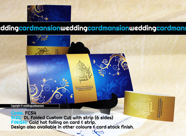 Blue & gold floral pattern folded wedding invitation with belly wrap and foil. FC54 - Wedding Card Mansion