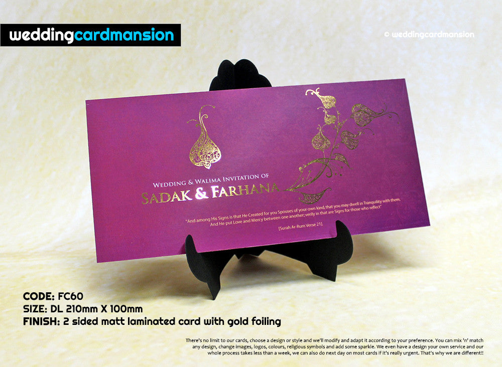 Purple & gold custom foil wedding invitation. FC60 - Wedding Card Mansion